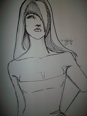 a little bowie (Mindsay Mohan) Tags: original girls woman white black art girl fashion paper sketch clothing women drawing drawings clothes sharpie sketches fashionsketches