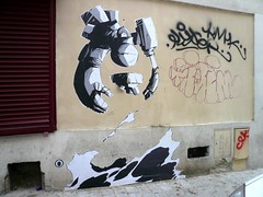 StreetArt, Paris, France (balavenise) Tags: streetart paris france art collage wall publicspace graffiti mural artist wheatpaste tag urbanart mur arteurbano artdelarue arturbain ephemere artedecalle artsauvage efemero flickrgiants