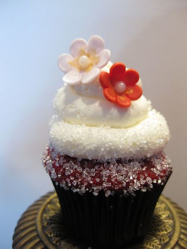 Mini Red Velvet Cupcake with Sugar Flowers
