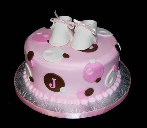 pink and brown sassy circles monogram baby shower cake