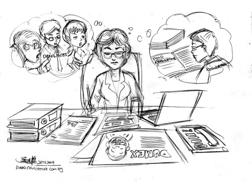 Cartoon illustration - Review materials pencil sketch (revised 1)