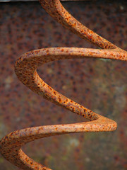 Vertical Spring (tubblesnap) Tags: red abandoned spiral spring rust decay rusty helix oversaturated coiled