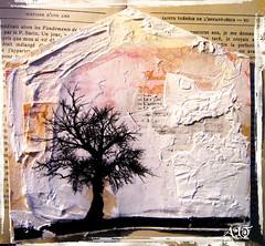 Dans ma maison il y a un arbre (Anne, Bulles dores) Tags: house tree art texture collage heart mixedmedia maison arbre gesso