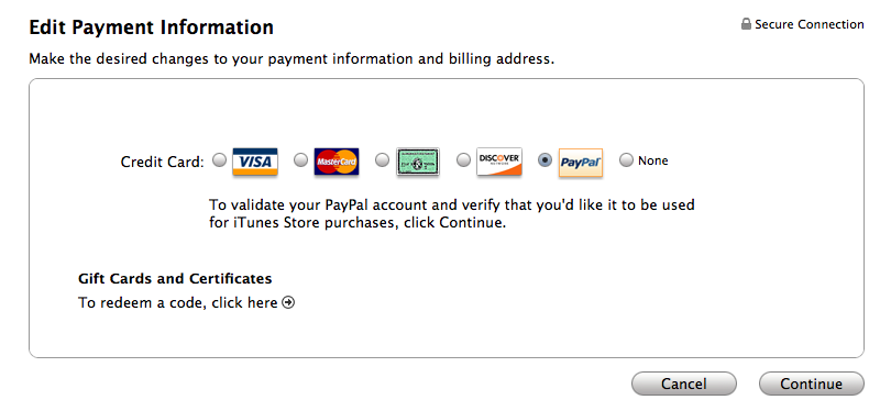 Pay itunes with paypal