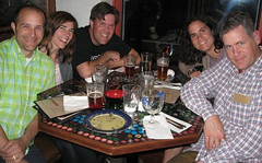 (Mitch, Julie, Vincent, Anne and Tim enjoying dinner and beer at Seraveza. Photo by Jennifer