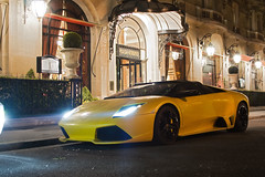 Lp640 by night ([ JR ]) Tags: light paris yellow night jaune long exposure shot exotic lamborghini supercar roadster murcielago plazza lp640 athnee fialeix
