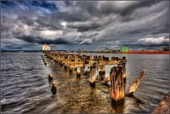 Leith Docks - Edinburgh - Scotland. (Devilineden) Tags: ocean wood water docks canon eos edinburgh harbour jetty ships terminal structure leith dslr hdr amatuer photomatix d400