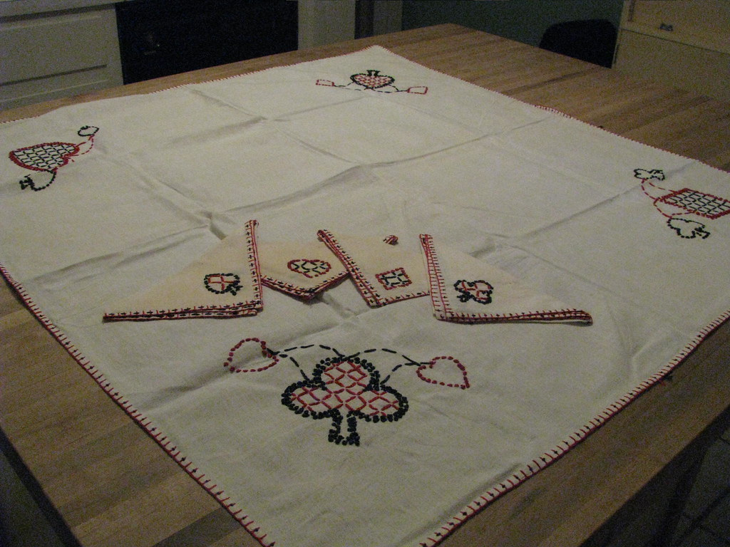 Vintage Country Style Card Table Cover
