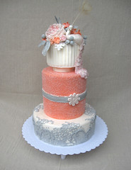 Coral Wedding Cake (ArtisanCakeCompany) Tags: flowers wedding white cake coral oregon silver portland grey three lace gray floating peacock peony sugar bakery tall artisan tier sanding bakeries fondant artisancakecompany
