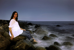 LongExposurePortrait (tsnedal) Tags: longexposure winter water norway movement nikon rocks waves elisabeth