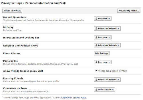 Privacy settings: Personal information