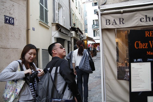 Ming Jin and Tomoko walking down the street of Cannes