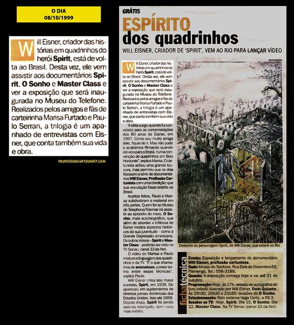 """""""Espírito dos quadrinhos"""" - O Dia - 08/10/1999"""
