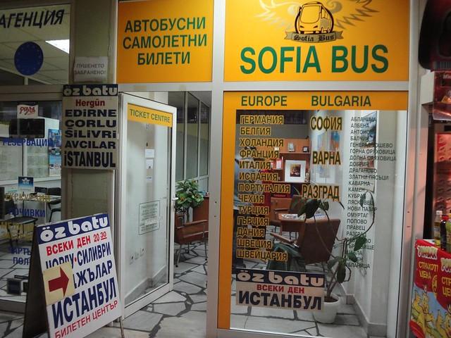 Escritorio da agencia de bilhetes da Sofia Bus na Estacoo de camionetas em Veliko Tarnovo