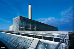 Fawley Power Station (Keith in Southampton) Tags: uk blue chimney england sky water glass station architecture power hampshire oil electricity southampton generation npower fawley cegb