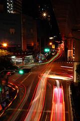 Sukhumvit Road by Night (sfxdonutz) Tags: longexposure cars thailand colorful nightshot bangkok lighttrail gf1