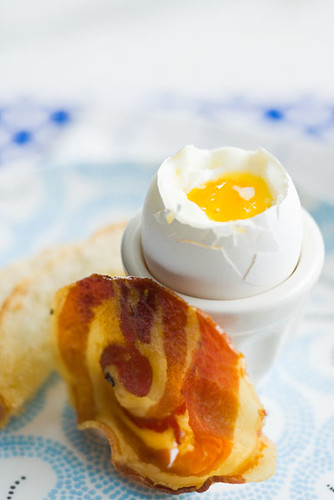 "Soft Boiled Eggs with Toast ""Soldiers"" and Pancetta Chips 4"