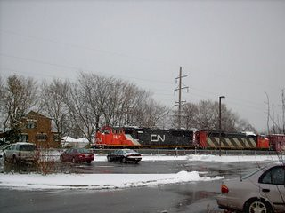 Westbound Cabadian National freight train waiting on a hold order. Berwyn Illinois. December 2007.