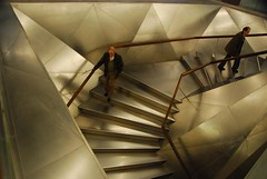 Metal Stairs (Chris P Dunn) Tags: metal stairs reflections descent step staircase persons bannister ascent descending ascending