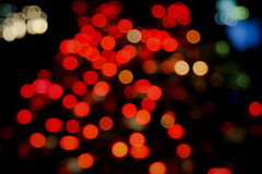 Bokeh night (hapal) Tags: street red orange white cars colors night eos iran bokeh iranian tehran dots  anon     40d   hamidnajafi