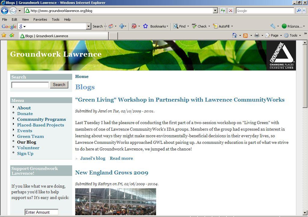 blog screen snapshot