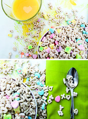 115:365 Do you feel lucky? (Valette) Tags: project365 day115 lightbox cereal breakfast yellow orange juice orangejuice spoon green lucky charm luckycharm luckycharms spill toomuch overflow msh020911 msh0209 monthlyscavengerhunt diptych 3