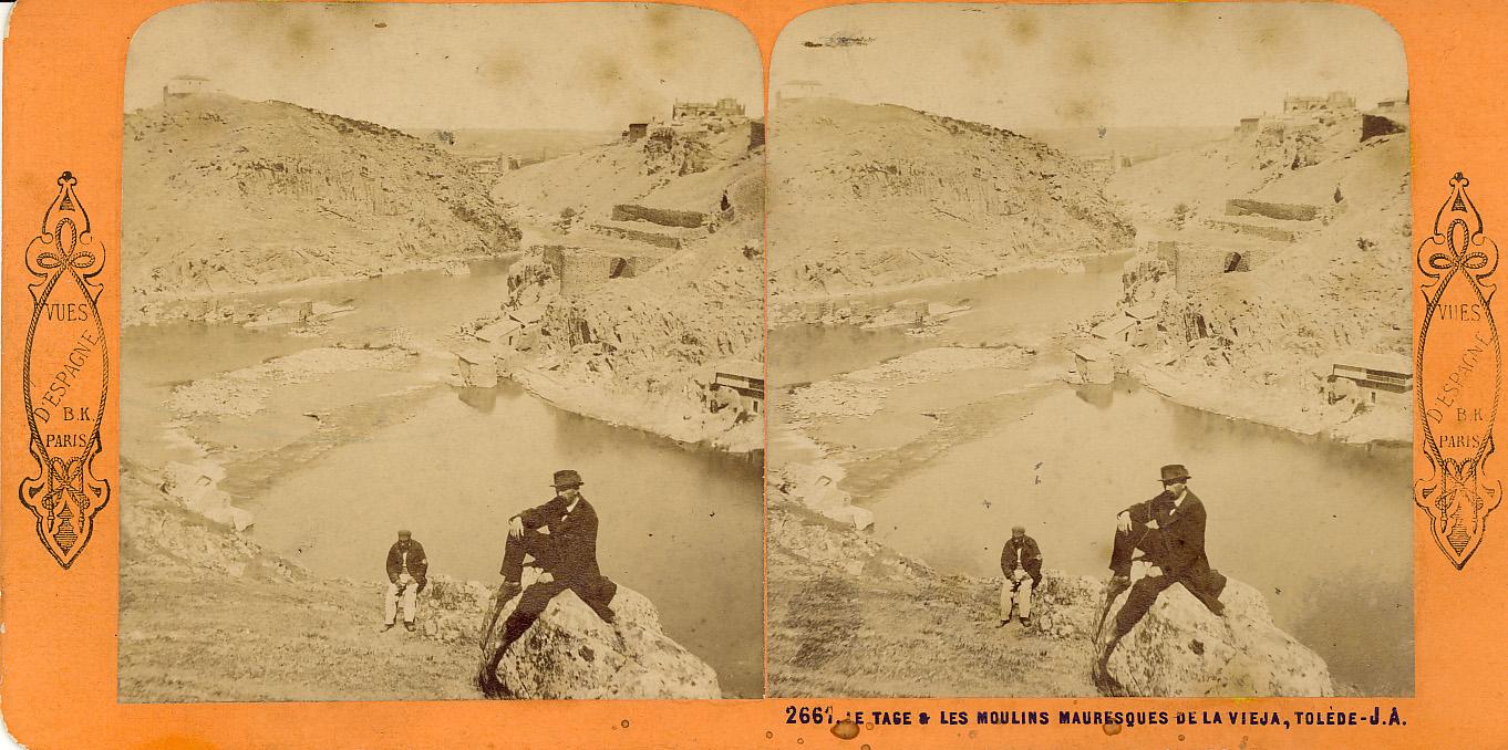 Fotografía estereoscópica de Toledo. Molinos en el Tajo hacia 1860. Foto de Jean Andrieu.