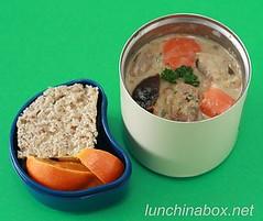 Pork, fennel and prune stew bento lunch for preschooler