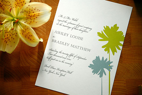 Puffs Wedding Invitations in Lime, Lime puff wedding invitation idea, samples, wedding invitation, flowers, photos