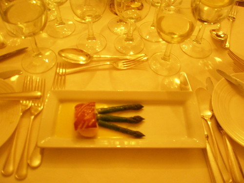 Feuilette of seafood mousse with asparagus and butter sauce