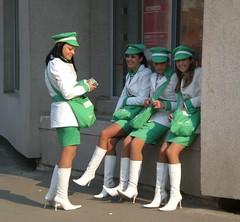 advertising girls (atelierif) Tags: girls white green young advertisement romania baiamare