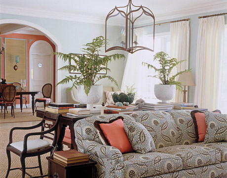 Bright + breezy tropical living room: Farrow & Ball's 'Teresa's Green'