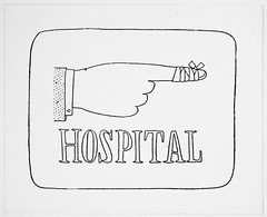 "Cartoons - Line Drawing Sign, Shirt Sleeve, Hand and Pointing Finger with Bandage over ""HOSPITAL"""
