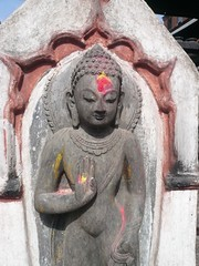 Swayambhunath, Katmandu, Nepal (balavenise) Tags: nepal statue shrine god buddha prayer religion buddhism katmandu swayambhunath prire devnagari  flickrgiants