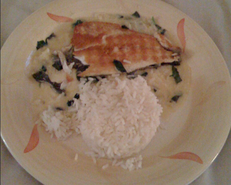 Sauteed Fillets of Sea Bass with Ginger, Basil and Coconut sauce