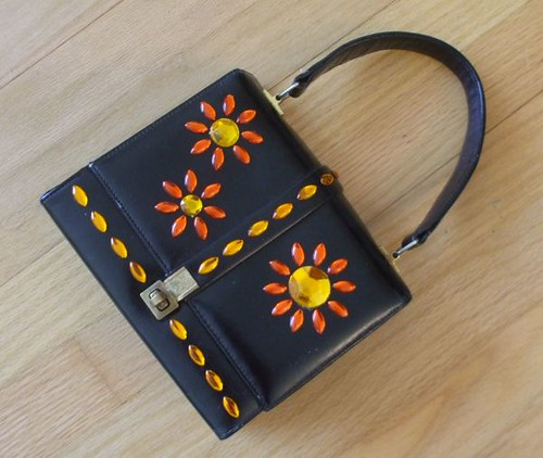 flower-embellished handbag