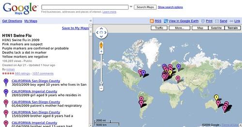 Google Maps H1N1 Swine Flu