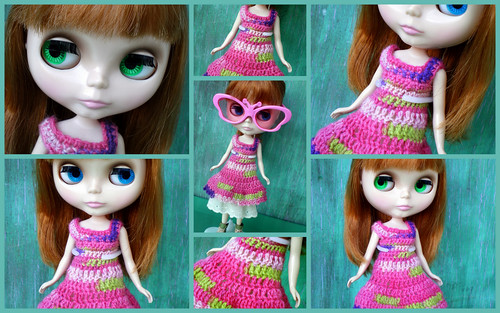 Clementine in Her New Crocheted Dress (Collage)