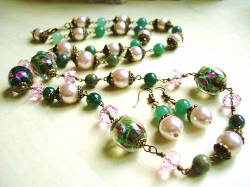 #SPN0131+E = GARDEN OF FLOWERS   N+E Set SGD$50 = Long Necklace made of Lampwork Glass Oval Beads, Aventueine Round Beads, Glass Pearls and Crystal Rondelles in Lt Pink Color.