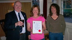 CAMRAswl's Martin Butler, pub boss Becky Newman & Patricia Barbonne Allen at the Presentation of the certificate for Pub of the Year 2008 - Click for larger versions of the photo on Flickr.com