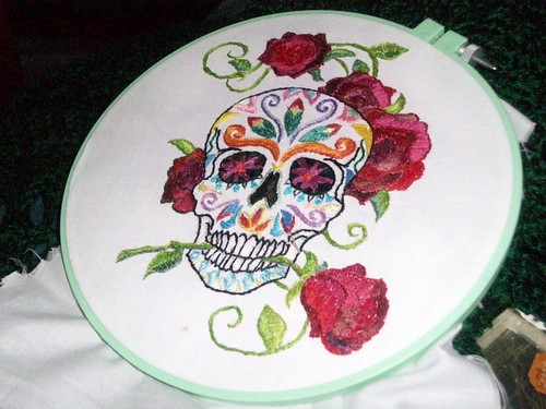 Dia De Los Muertos - hand stitched