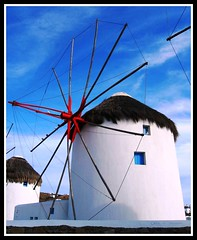 The White, White Windmills of Mykonos, Greece (moonjazz) Tags: blue sky white building heritage blanco windmill architecture island greek landmark historic greece pure mykonos preservation agean meditteranean abigfave