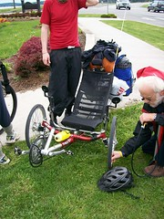 Pumping up the tires on a recumbent