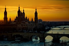 Autumn Sunset in Zaragoza Spain! Explored!!!! (Antonio Goya) Tags: street camera bridge autumn sunset urban espaa color colour luz rio pi