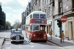 Forrest Road Edinburgh 1975 (georgeupstairs) Tags: bus austin edinburgh taxi 666 alexander titan doubledecker leyland fx4 oddfellowshall pd36 edinburghcorporationtransport asc666b