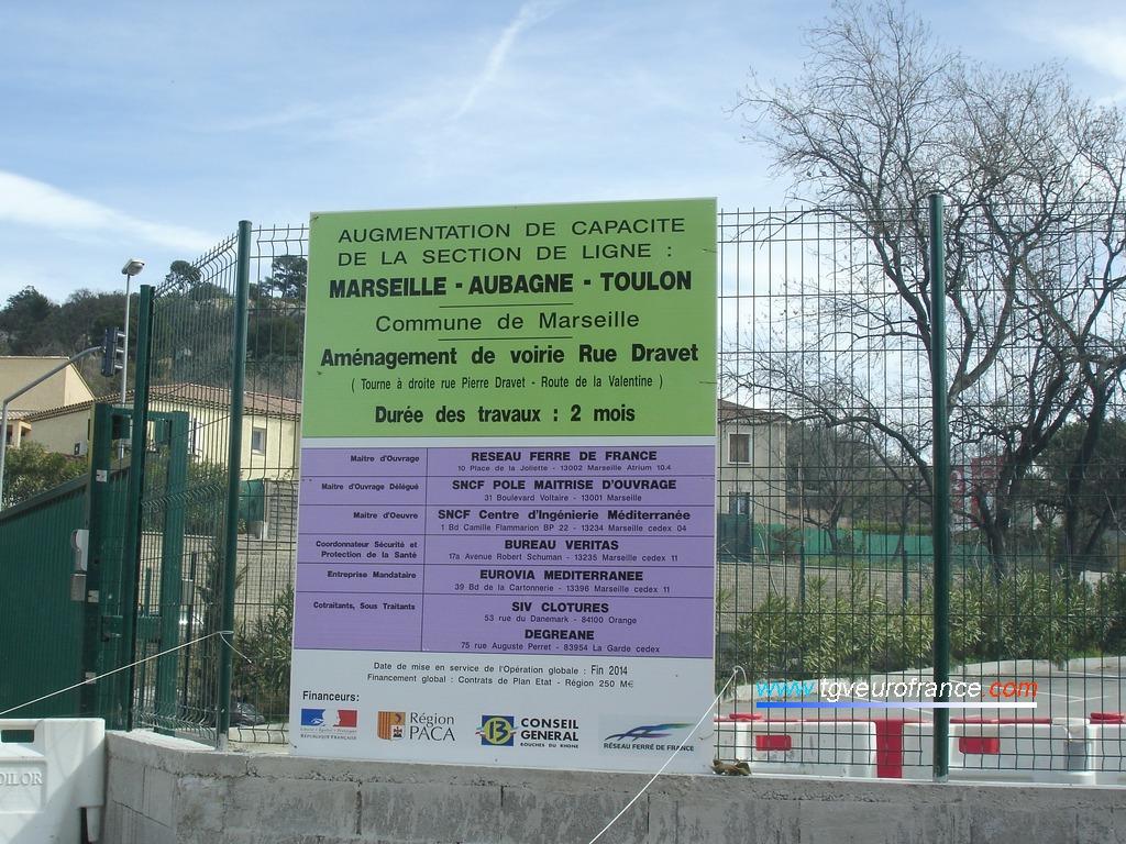 Travaux réalisés dans le cadre de l'augmentation de capacité de la section de ligne Marseille - Aubagne - Toulon