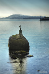 Girl in a Wetsuit - Vancouver's Little Mermaid (janusz l) Tags: sculpture art girl vancouver sunrise geotagged mask little diving stanleypark mermaid hdr wetsuit swimfins janusz vancouvers girlinawetsuit leszczynski theunforgettablepictures geo:lat=49302621 013658 geo:lon=123126118