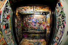 Fisheye Elevator!! explored! (dj murdok photos) Tags: california urban streetart macro vintage graffiti losangeles los flickr angeles fisheye hollywood amoeba f28 10mm richcolors explored sigmafisheye sony100mm28 djmurdokphotos