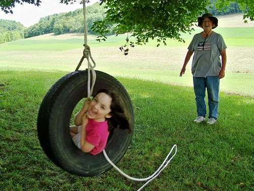 Julia's first swing on the tire