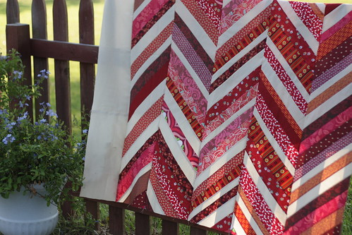 red quilt top - in progress
